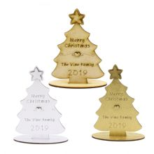 Personalised Wooden Christmas Tree with base, Laser Cut, Decoration, Gift